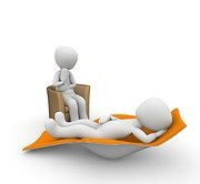 graphic of one person lying down and one sitting