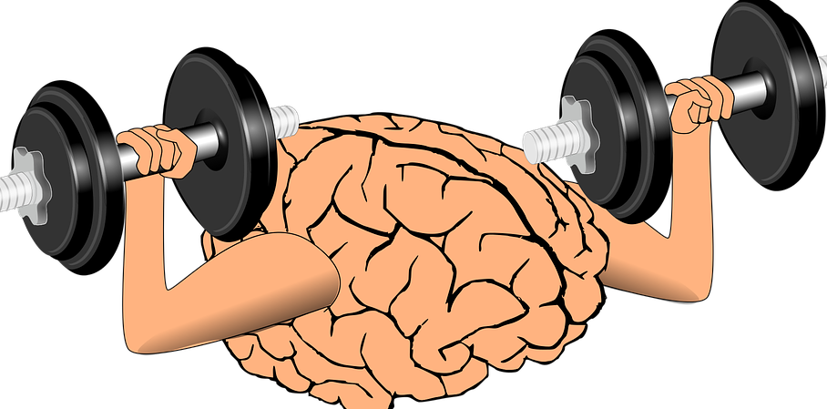 graphic of brain holding weights