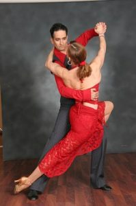 Couple dancing the salsa